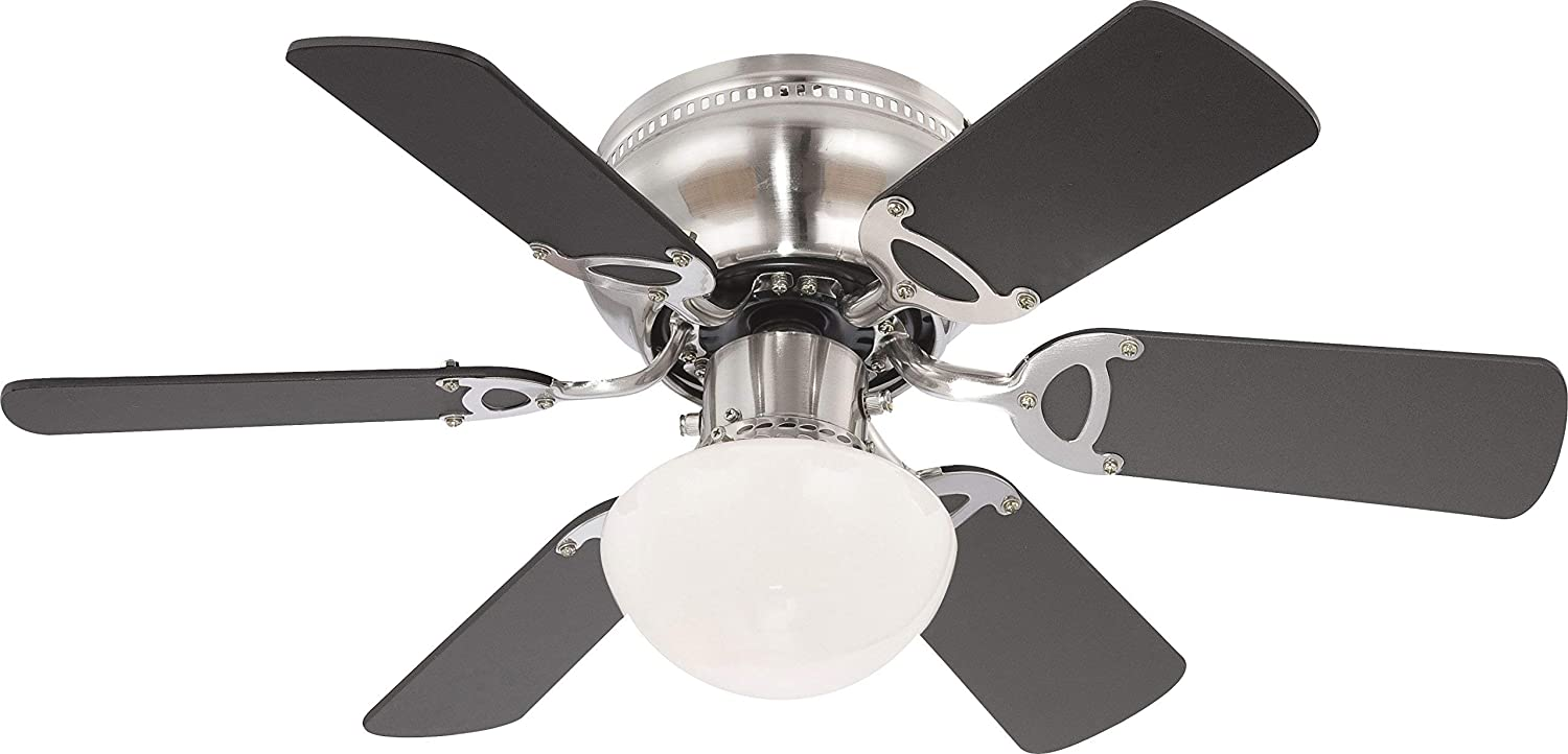 Globo E27 Ceiling Fan with Brushed Nickel Blades, Beech/Graphite [Energy Class A++] 0307