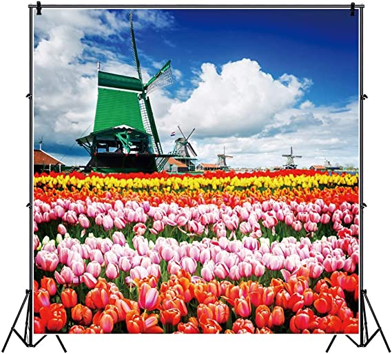 7x10 FT Windmill Vinyl Photography Background Backdrops,Rustic Dutch Landscape with Colorful Yellow Tulips in The European Countryside Background for Selfie Birthday Party Pictures Photo Booth Shoot