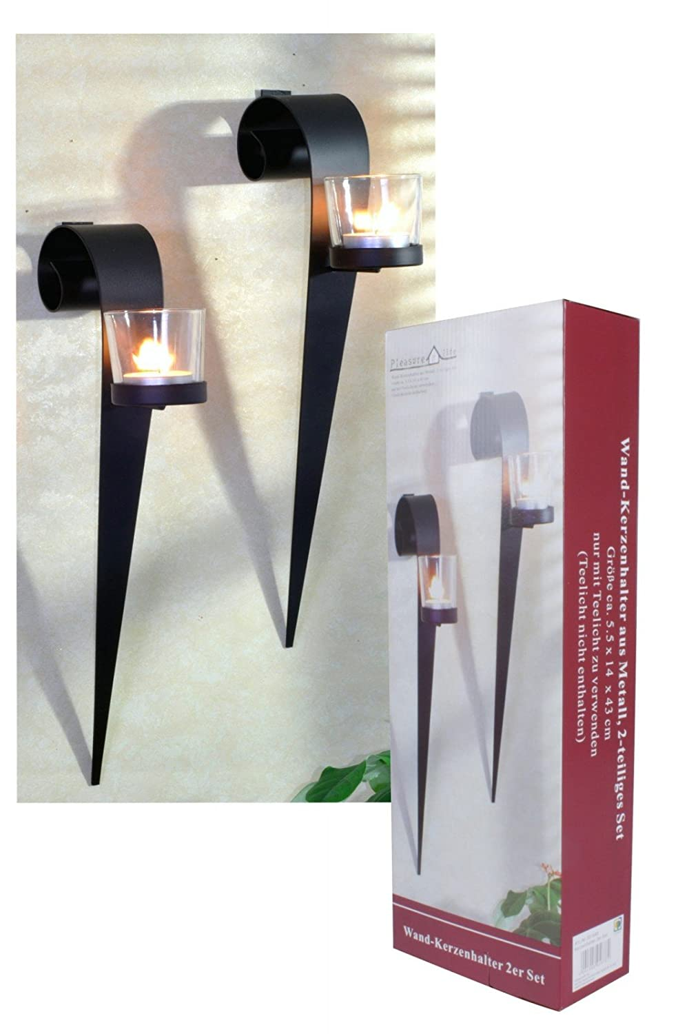 GARDEN PLEASURE 301688 Metal Wall Candle Holders Set of 2 Harms Import