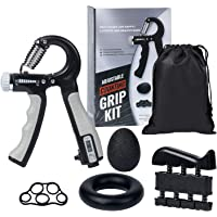 DomKom Grip Strength Trainer Workout Kit (5 Pack), Adjustable Resistance 22-132 Lbs Counting Hand Gripper Strengthener…