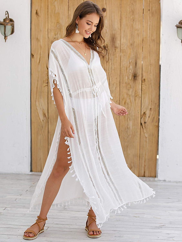 Eicolorte Womens Swimsuit Cover ups Bathing Suit Tassel Kaftan Beach Dress for Swimwear