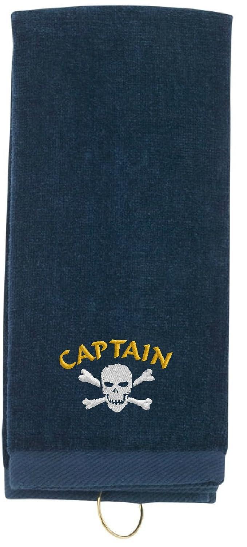 SpiffyカスタムギフトPirate Captain with Skull & Crossbones刺繍入り三つ折りスポーツタオルW /フック  ネイビー B01B3OREFU