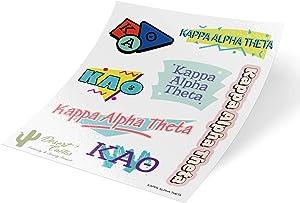 Kappa Alpha Theta Themed Sticker Decal Laptop Water Bottle Car Theta (Full Sheet - 90's)