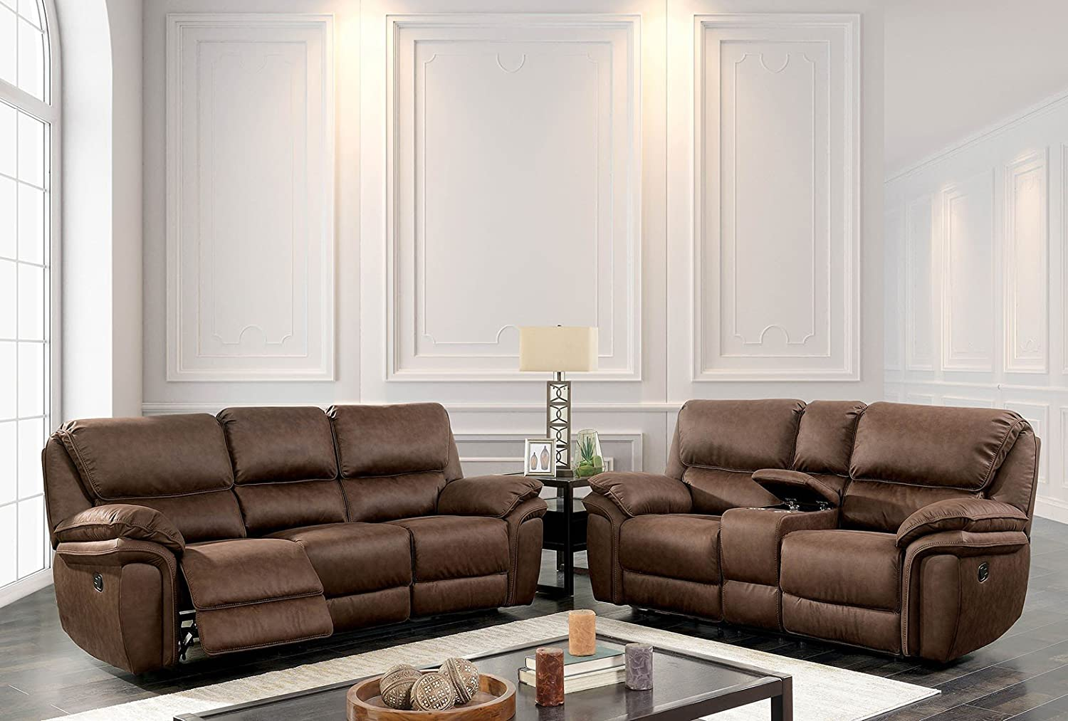 Incredible Amazon Com Esofastore Reclining Sofa Loveseat W Console Cup Gmtry Best Dining Table And Chair Ideas Images Gmtryco