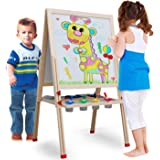 Kids Easel Set Double Sides Magnetic 3 in 1 Height Adjustable Wooden Painting Easel Portable Educational Toys Gift for…