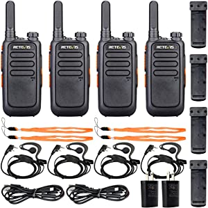 Retevis RT69 Rechargeable Walkie Talkies for Adults,2 Way Radio Long Range,VOX Flashlight Portable, Two Way Radios with Earpiece, for Kids Children Camping Community(4 Pack)