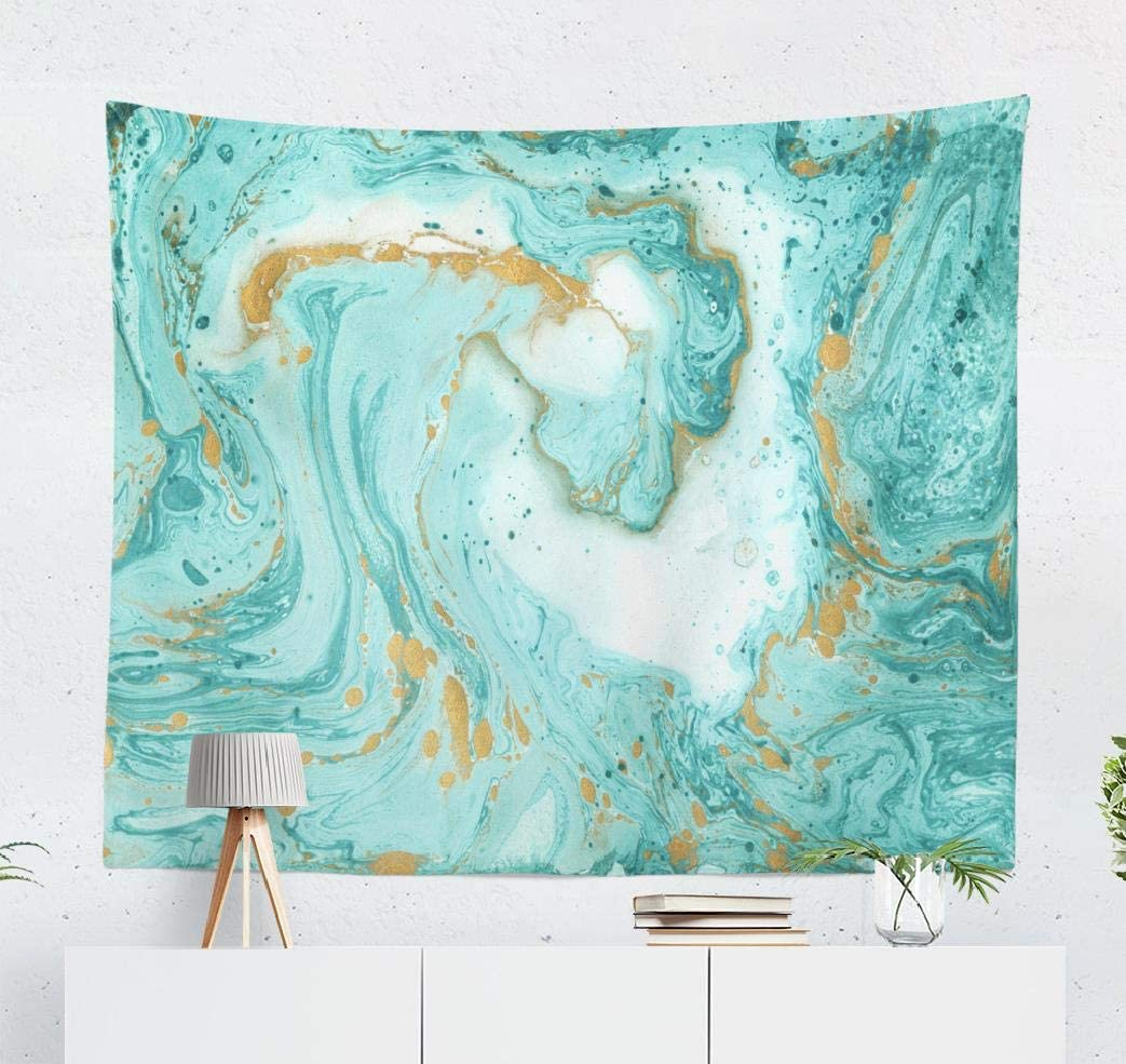 Summor Green Color Colorful Watercolor Stain Grunge Marble Gold Turquoise Color Green Art Nature Home Decorations for Living Room Bedroom Dorm Decor 60 x 50 Inch