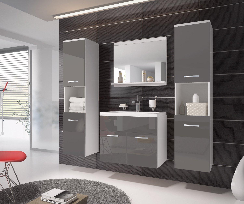 armadietto da bagno montreal xl 60 cm grigio lucido armadio mobiletto lavabo mobili