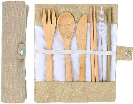 ANSUG 6 Piezas Juego de Cubiertos de bambú, Travel Lunch Cubiertos Set Utensilios de Madera Reutilizables con Bolsa de Tela para Viajes Cocina de ...