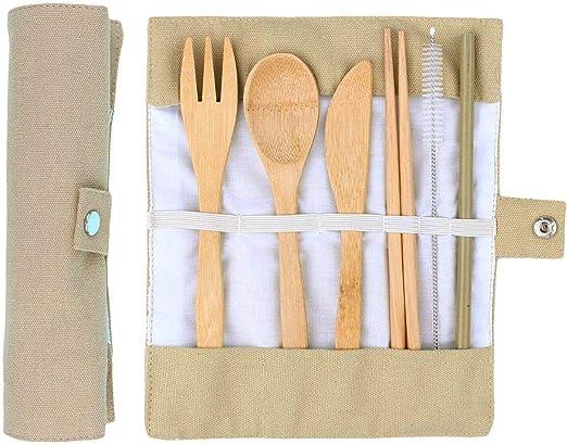 ANSUG 6 Piezas Juego de Cubiertos de bambú, Travel Lunch Cubiertos Set Utensilios de Madera Reutilizables con Bolsa de Tela para Viajes Cocina de Camping: Amazon.es: Jardín