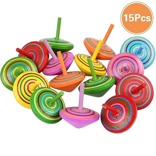 YANSHON Peonza Madera Trompo 15pcs Juguetes para niños ...