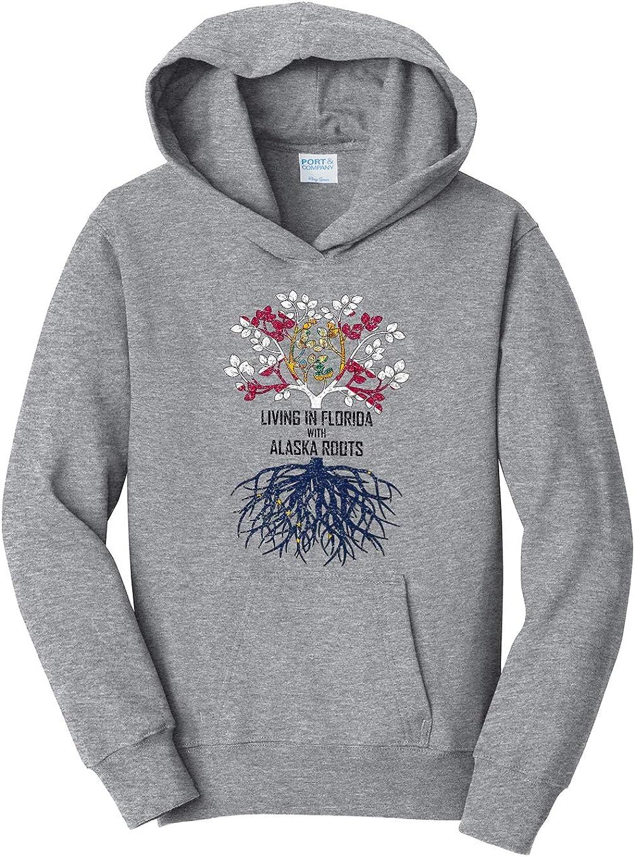 Tenacitee Girls Living in Florida with Alaska Roots Hooded Sweatshirt