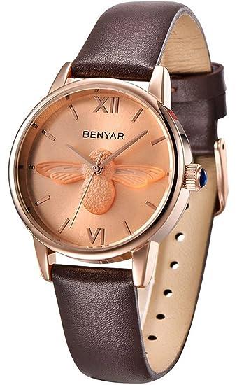 Moda Mujer Cuarzo Relojes benyar marca de lujo Ladies 3d abeja pulsera impermeable reloj