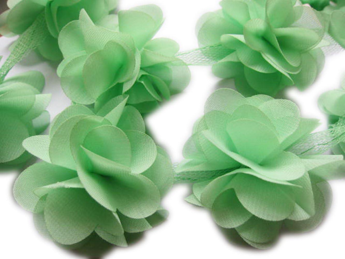 Grey YYCRAFT 5 Yards 2.5 3D Chiffon Flower Lace Trims Bridal Bouquets Cluster Flower DIY Sewing