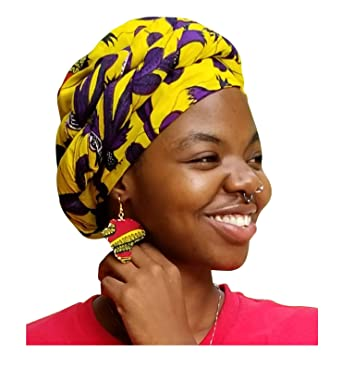 Amazon.com: Yellow and Purple African Dashiki Print Ankara Modu Hat Pre-tied Head wrap: Clothing