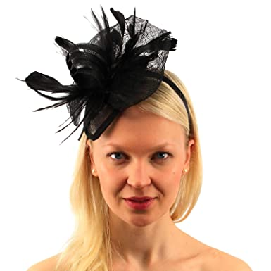 C.C CC Sinamay Ribbon Feathers Fascinators Headband Cocktail Derby Church  Hat Black 518a81c412d