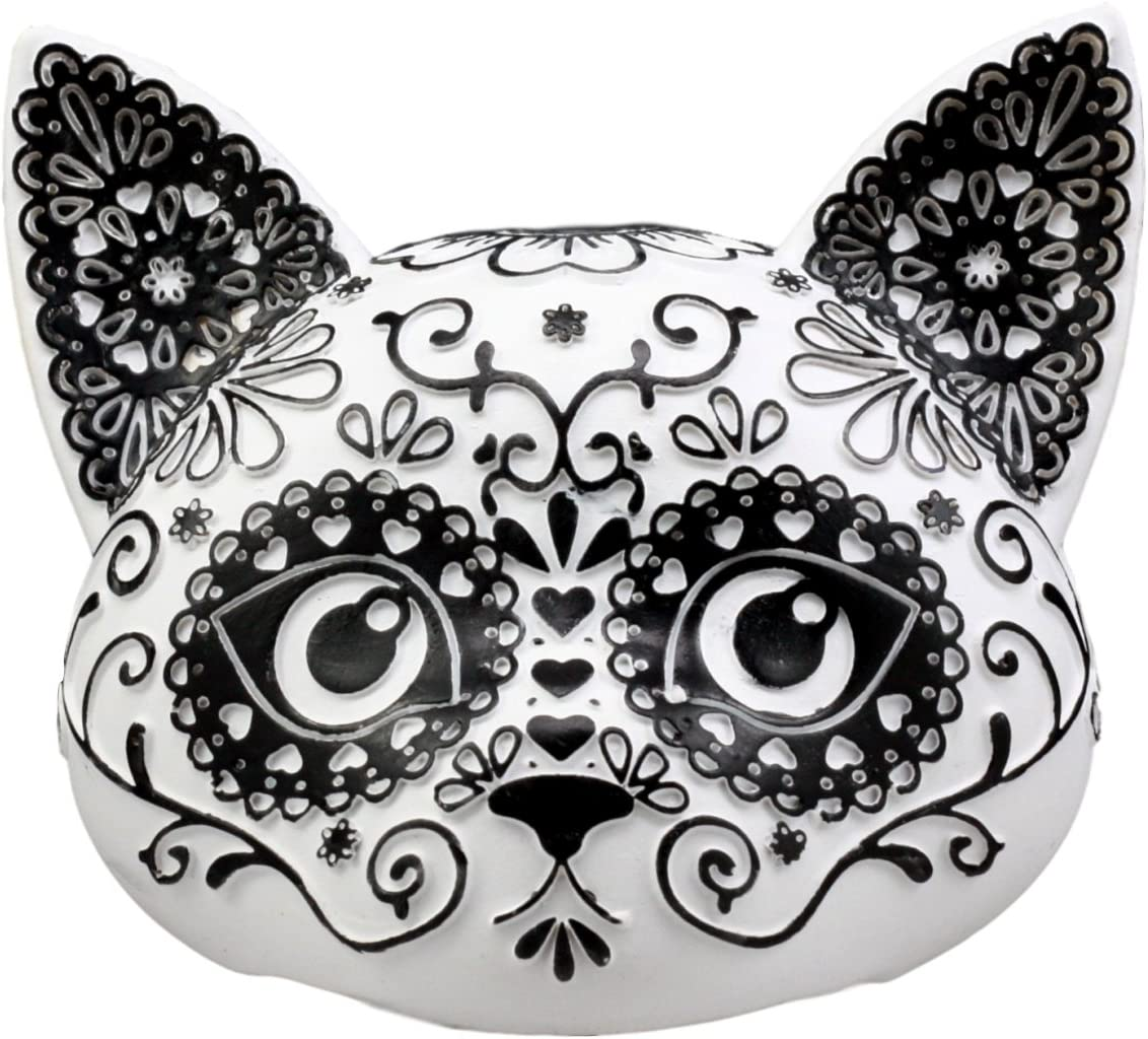 "Ebros Day of The Dead Masquerade Sugar Skull Kitty Cat Head Figurine 5"" Wide Collectible Halloween Crazy for Cats Sculpture"