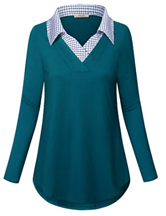 d329a982710d Timeson Womens Blouses and Tops for Work, Ladies Contrast Collar Shirt Long Sleeve  V Neck