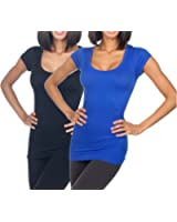 SUGARLIPS Women's Seamless Cap Sleeve Round Neck Tee