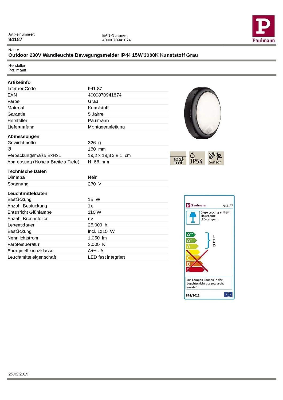 Paulmannn Outdoor Wandleuchte IP44 15W 230V Anthrazit Warmweiß Bewegungsmelder