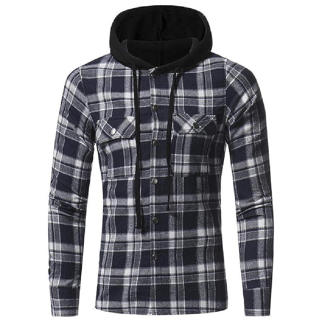 Kankanluck Mens Hooded Button-Down-Shirts Tops Plaid Comfort Shirt