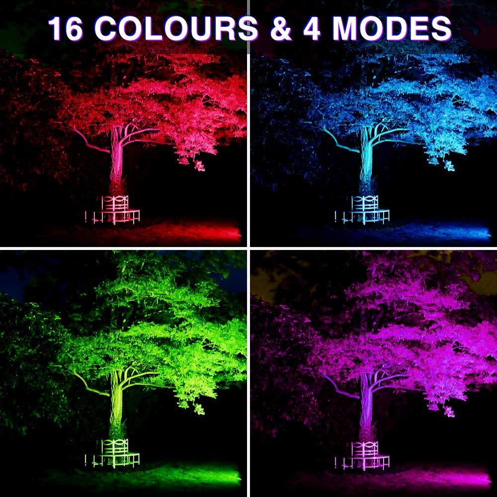 Novostella 2er 20W RGB Strahler LED Fluter Mit Fernbedienung 20 Farben 6 Modi Objektbeleuchtung Flutlichtstrahler IP66 Wasserdicht LED Flutlicht Aluminium f/ür Au/ßenbeleuchtung Gartenbeleuchtung