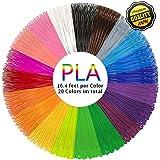 PLA 3D Pen Filament Refills(20 Colors, 16.4 Feet Each) - PHANED 3D Printing Pen Filament 1.75mm Total 328 Feet Lengths for MYNT3D, Scribbler V3, Soyan, 7TECH, LIX, Manve, Sunlu 3D Pen