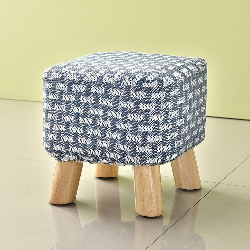 Duzhengzhou Cube Storage Stool Decorative Seating (Color : Dark blue and white strips)