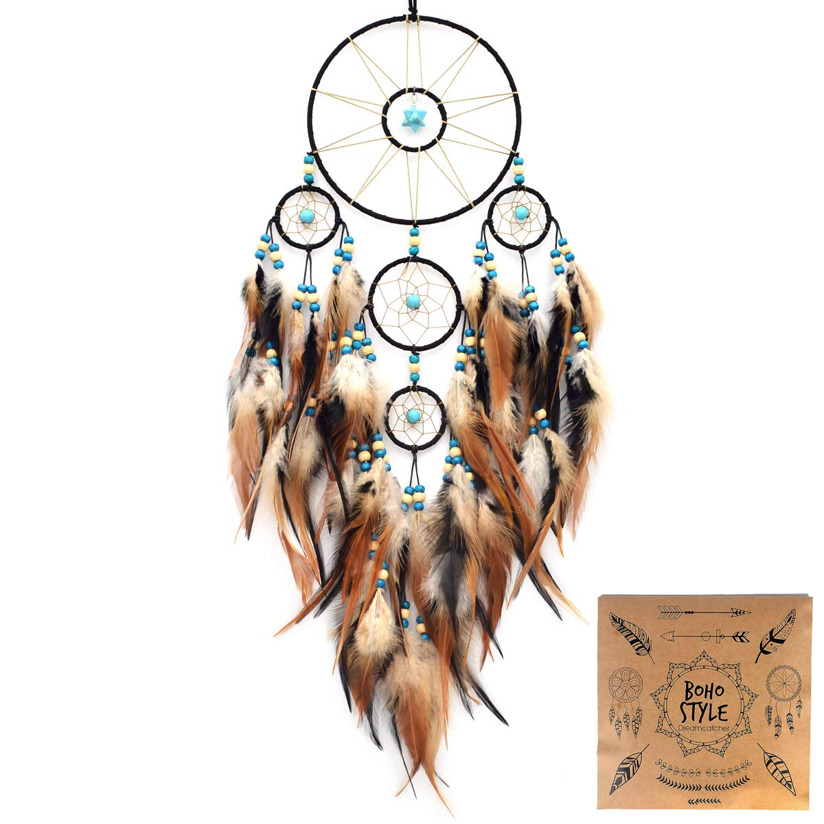 """Littlear Dream Catcher Handmade Turquoise Merkaba Dream Catchers with Black Feathers Wall Hanging Home Decor Dia 6""""(NO.32)"""