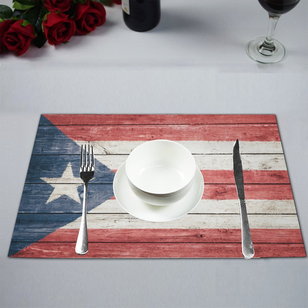 InterestPrint Puerto Rican Flag on Wood Background Fabric Placemats Set of 6 Heat-resistant Place Mats for Dining Table Stain Resistant Washable Table Mats, 12''x18''