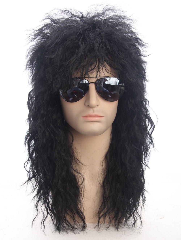 80s Wigs Halloween Costumes Male Wig Punk Heavy Metal Mullet Wig Black Curly Long