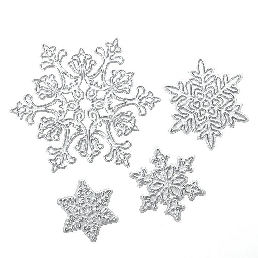Cutting Diesステンシル、Die Cuts、クリスマススノーフレークスクラップブックアルバム用紙カード日記Hand Craft by ttnight、4pcs B075ZTG9MC
