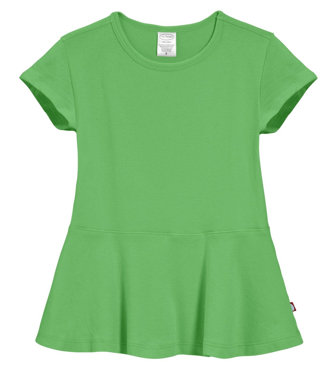 City Threads Big Girls' Cotton Short Sleeve Peplum Top Blouse Shirt For Summer Play School Parties Stylish SPD Sensory Friendly, Elf, 16