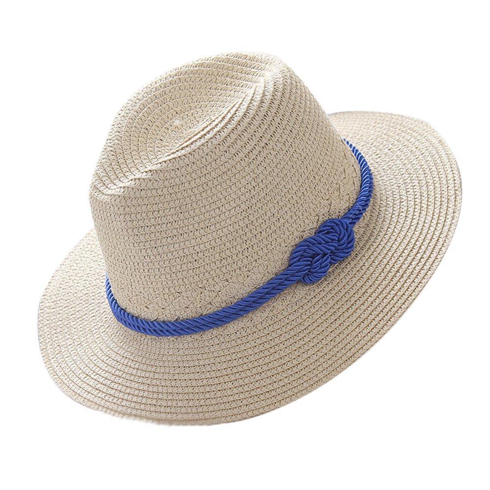 Demarkt Damen Panamahüte Strohhut Strandhut Sonnenhut Sommerhut Hutumfang von etwa 56-58cm Beige V5111700SCE6M12
