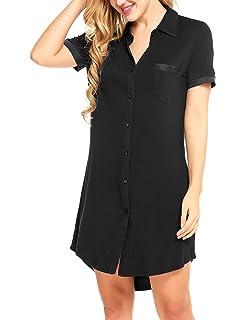 050ca92d01 Avidlove Women s Nightshirt Short Sleeve Button Down Nightgown V-Neck  Boyfriend Sleepshirt Pajama Dress