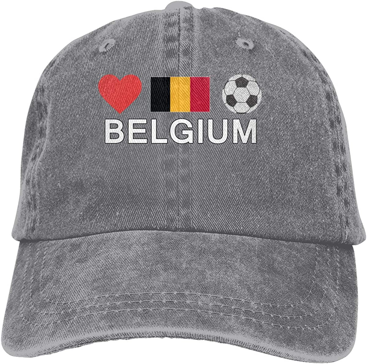 Kunming~ Belgium Football Belgium Soccer Women Adjustable Denim Baseball Caps Hip Hop Cap
