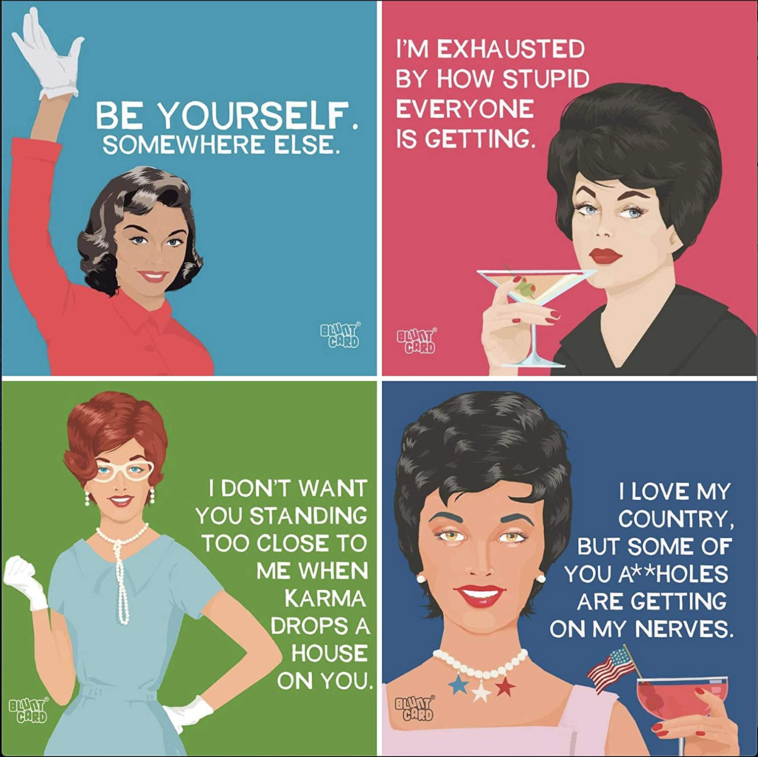 Funny Cocktail Napkins Women Sassy Sarcastic Blunt Cards Variety Pack Box 40 Total Napkins