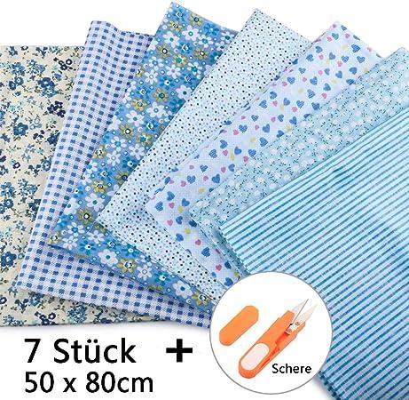 JTENG 7 piezas de telas de algodón paquete de tela 50x80cm para costura, manualidades, álbumes de recortes y manualidades (Azul): Amazon.es: Hogar