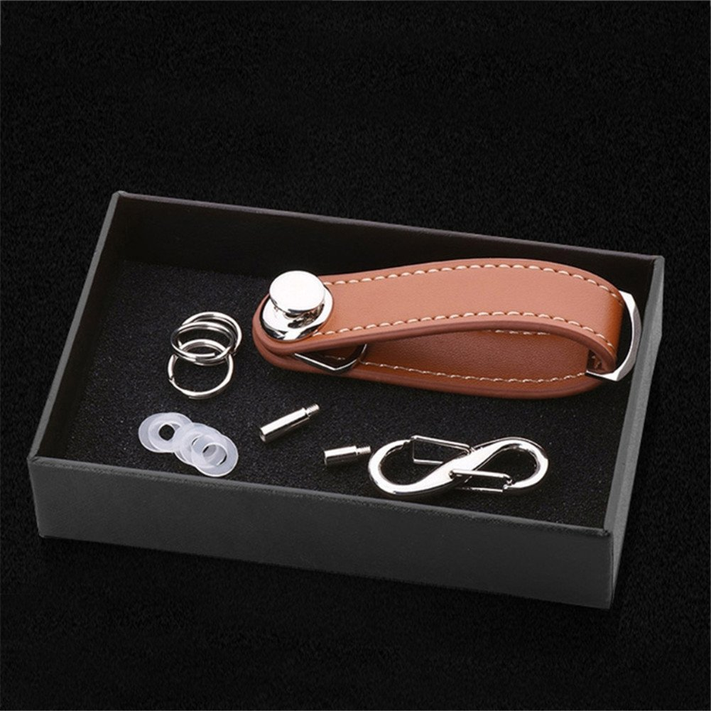 Key Holder, Leagway Smart Compact Pocket Key Ring Organizer Key Chain Leather Keychain Organizer Secure Locking Mechanism, Expandable Key Holder Hook Up to 8 Keys, Best Gift for Men (Brown)