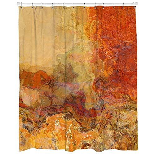 Abstract Art Shower Curtain In Red Orange Brown And Cream Magma