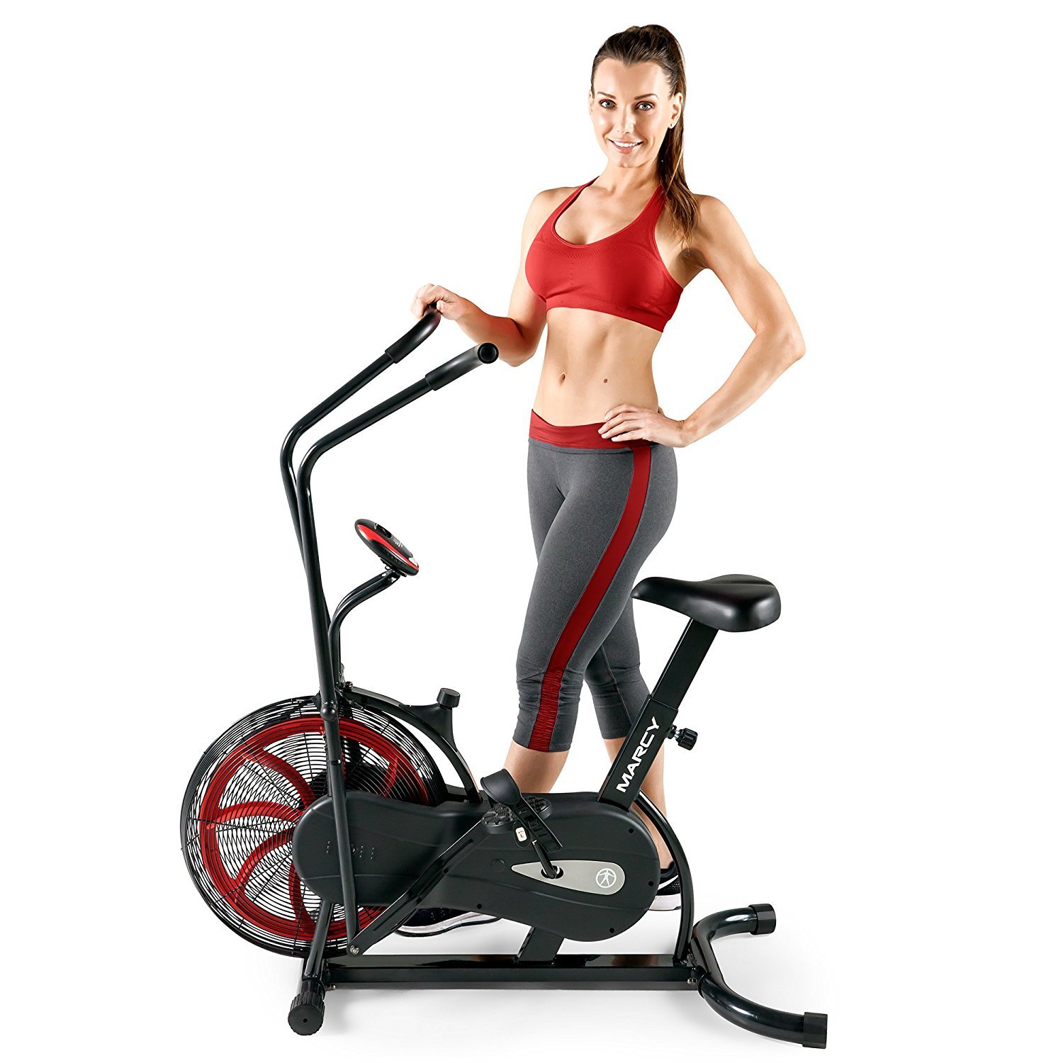 Marcy Fan Exercise Bike with Air Resistance System - Red and Black - NS-1000