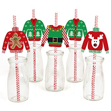 Amazon.com: Ugly Sweater Paper Straw Decor - Christmas Party ...