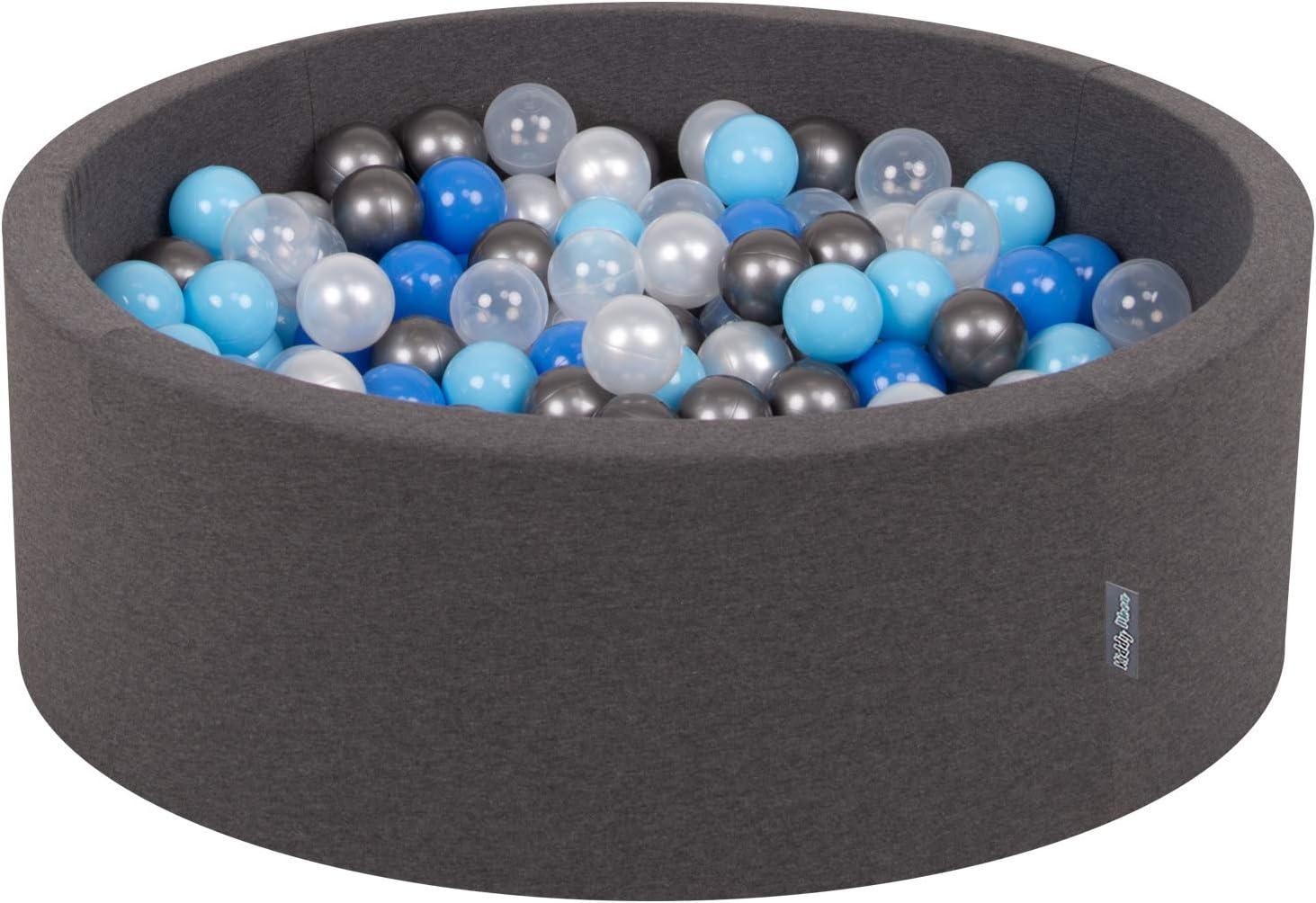 KiddyMoon 90X30cm/200 Bolas ∅ 7Cm Piscina De Bolas para Ninos Hecha En La UE, Gris Os:Perla,Azul,Azul Clr,Transparente,Plata
