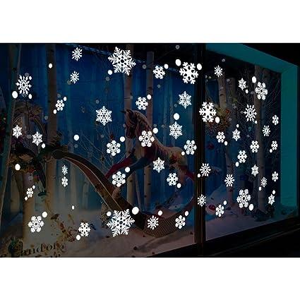 48pcs snowflake window clings glueless pvc wall stickers for window glasses christmas window decorations - Christmas Window Decorations Amazon