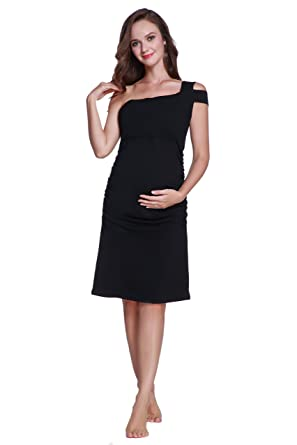 Betteri Womens Sexy Cold Shoulder Black Bodycon Dresses Maternity