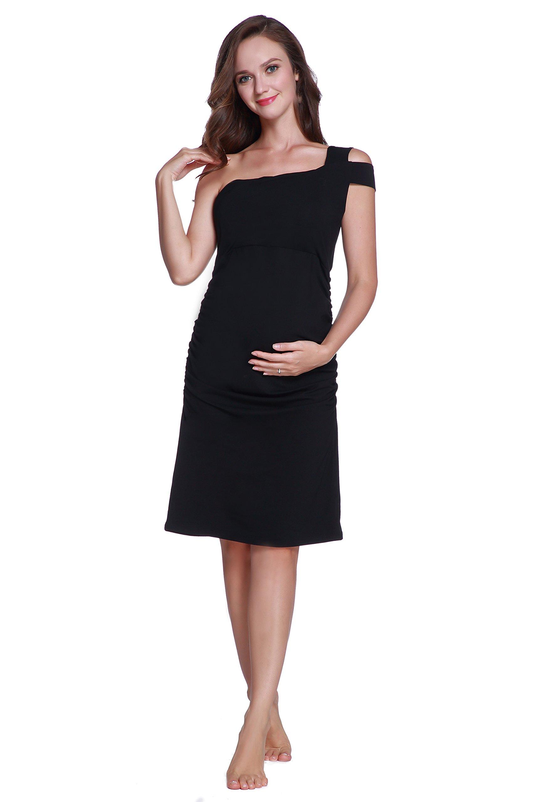 Betteri Women's Sexy Cold Shoulder Black Bodycon Dresses - Maternity Dress Formal - Baby Shower Dress