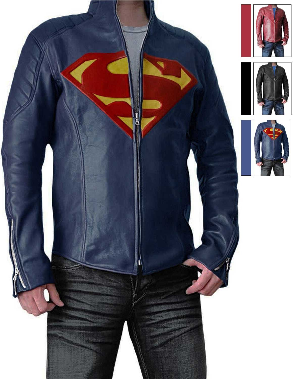 Mens Slimfit Super Blue Jacket - Synthetic Leather (3XL) by BlingSoul