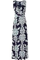 Zattcas Womens V Neck Sleeveless Maxi Dress Casual Empire Floral Maxi Dress