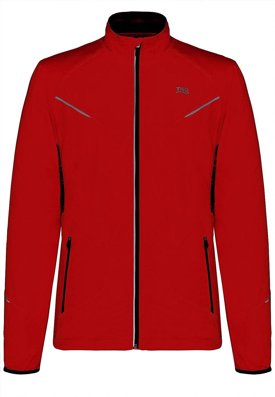 leichte und Wasserabweisende Herren Winter Laufjacke mit Reflektoren TAO Sportswear rot Pulse Jacket