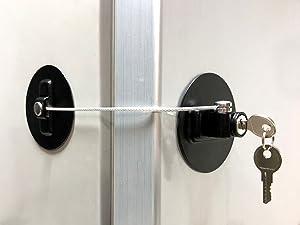 MUIN Refrigerator Door Lock with2 Keys,Black